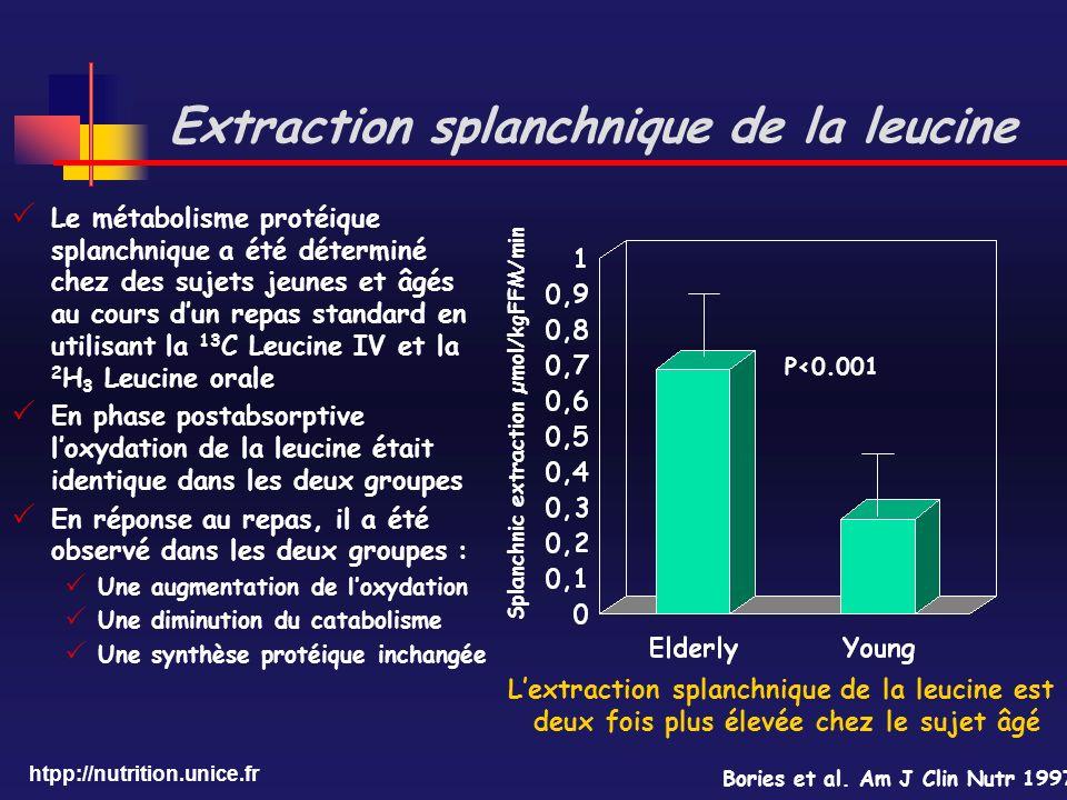 Extraction splanchnique de la leucine