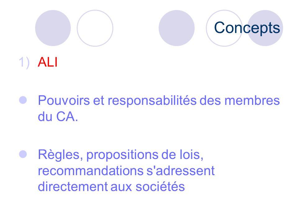 Concepts ALI Pouvoirs et responsabilités des membres du CA.