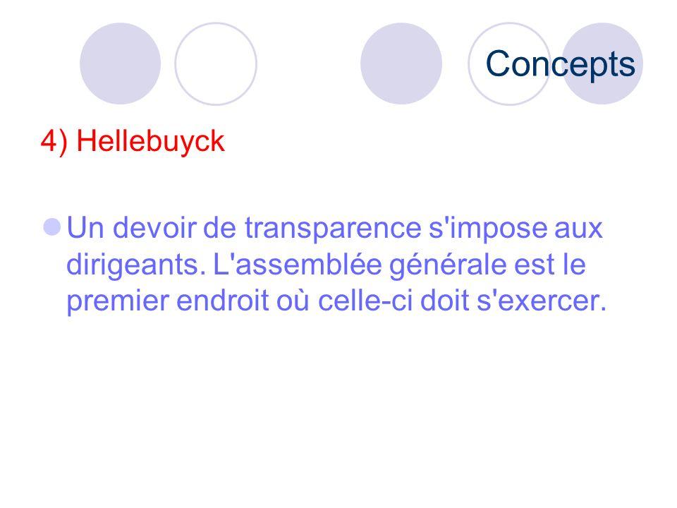 Concepts 4) Hellebuyck. Un devoir de transparence s impose aux dirigeants.