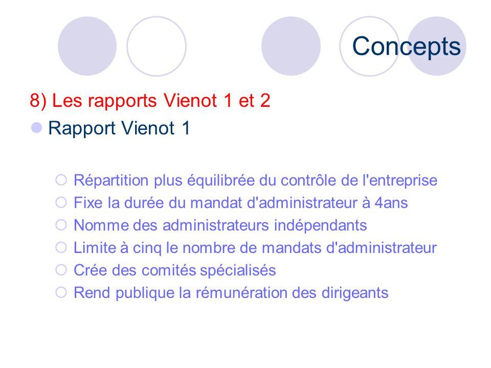 Concepts 8) Les rapports Vienot 1 et 2 Rapport Vienot 1