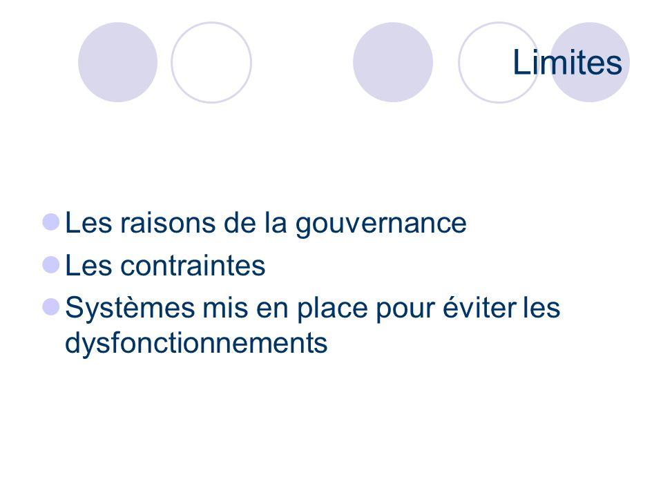 Limites Les raisons de la gouvernance Les contraintes