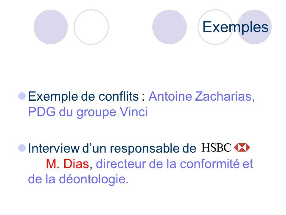 Exemples Exemple de conflits : Antoine Zacharias, PDG du groupe Vinci