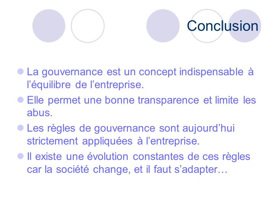 Conclusion La gouvernance est un concept indispensable à l'équilibre de l'entreprise. Elle permet une bonne transparence et limite les abus.