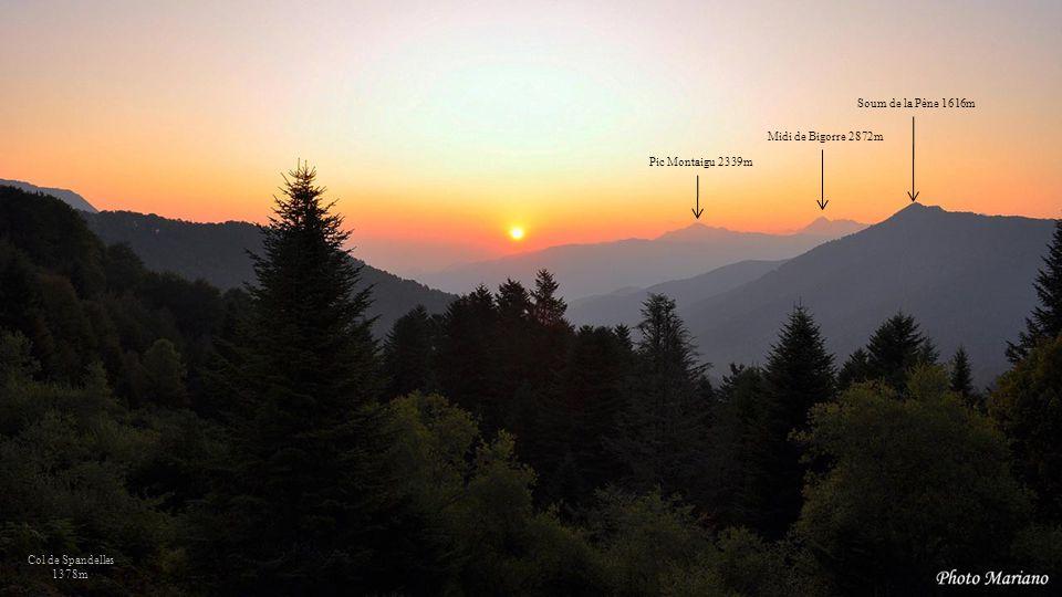 Soum de la Pène 1616m Midi de Bigorre 2872m Pic Montaigu 2339m