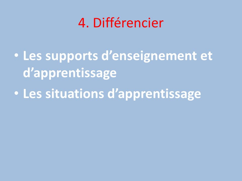 4. Différencier Les supports d'enseignement et d'apprentissage