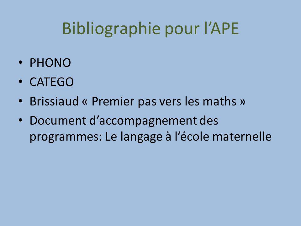 Bibliographie pour l'APE