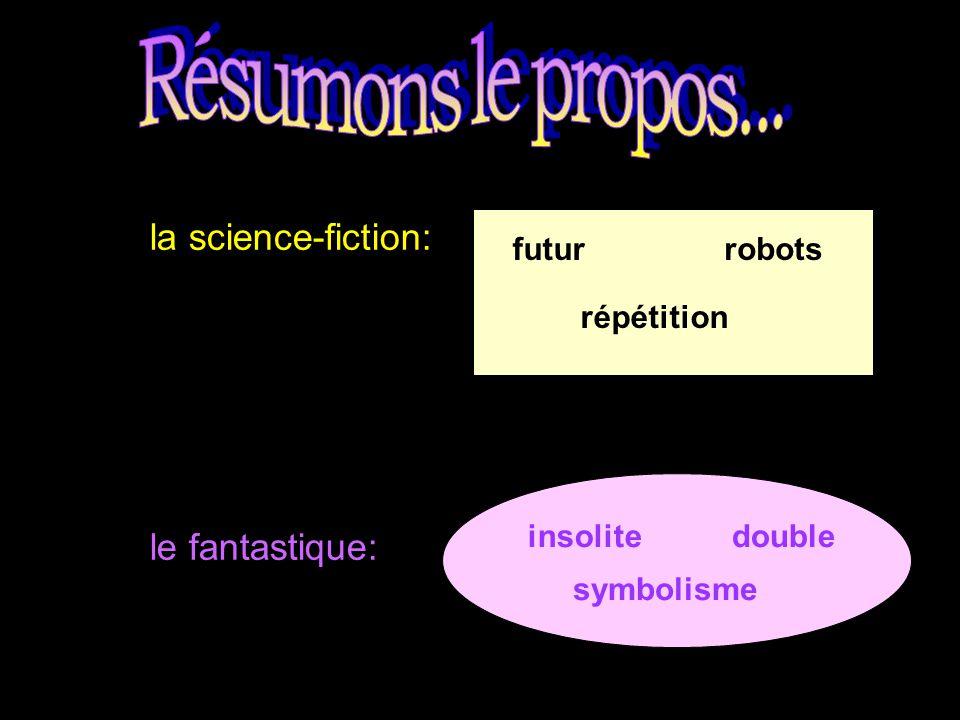 Résumons le propos... la science-fiction: le fantastique: futur robots