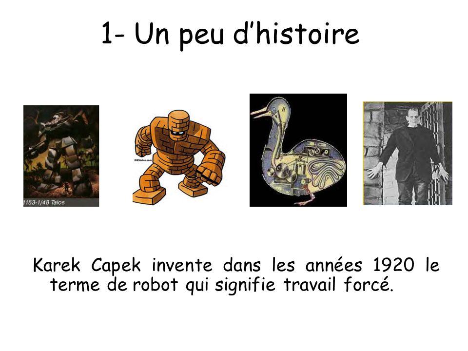 1- Un peu d'histoire Karek Capek invente dans les années 1920 le terme de robot qui signifie travail forcé.