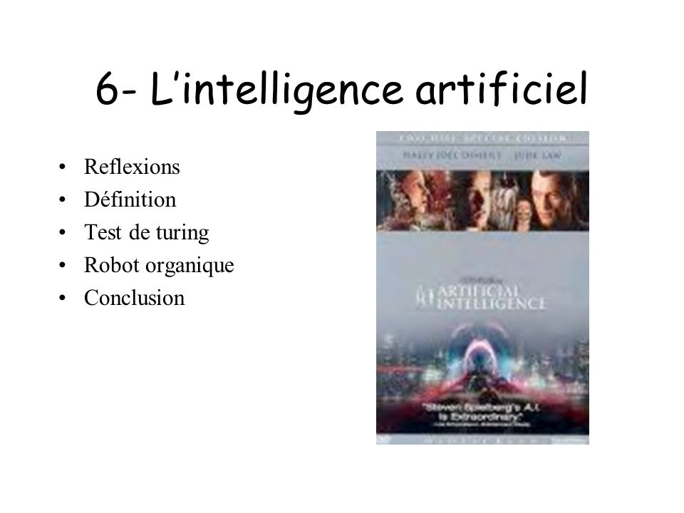 6- L'intelligence artificiel