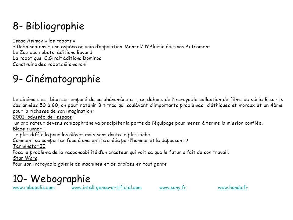 8- Bibliographie 9- Cinématographie 10- Webographie