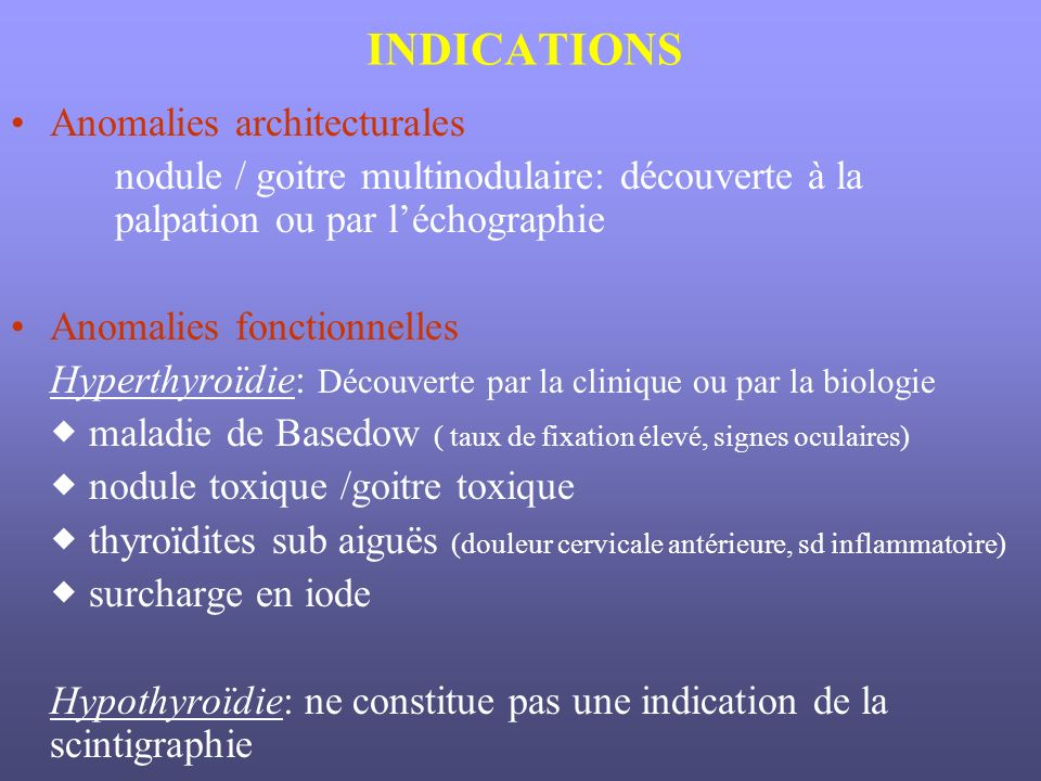 INDICATIONS Anomalies architecturales