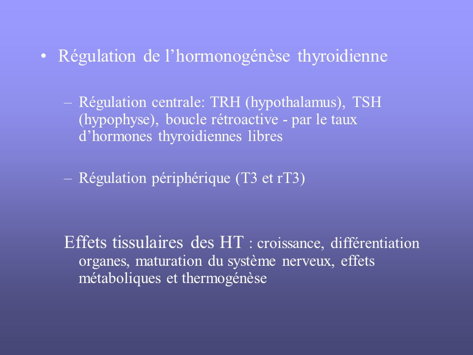 Régulation de l'hormonogénèse thyroidienne