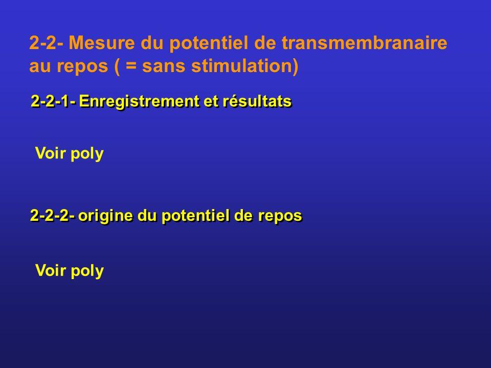 2-2- Mesure du potentiel de transmembranaire au repos ( = sans stimulation)