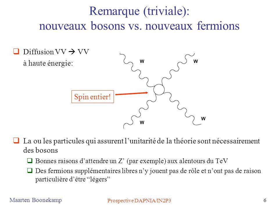 Remarque (triviale): nouveaux bosons vs. nouveaux fermions