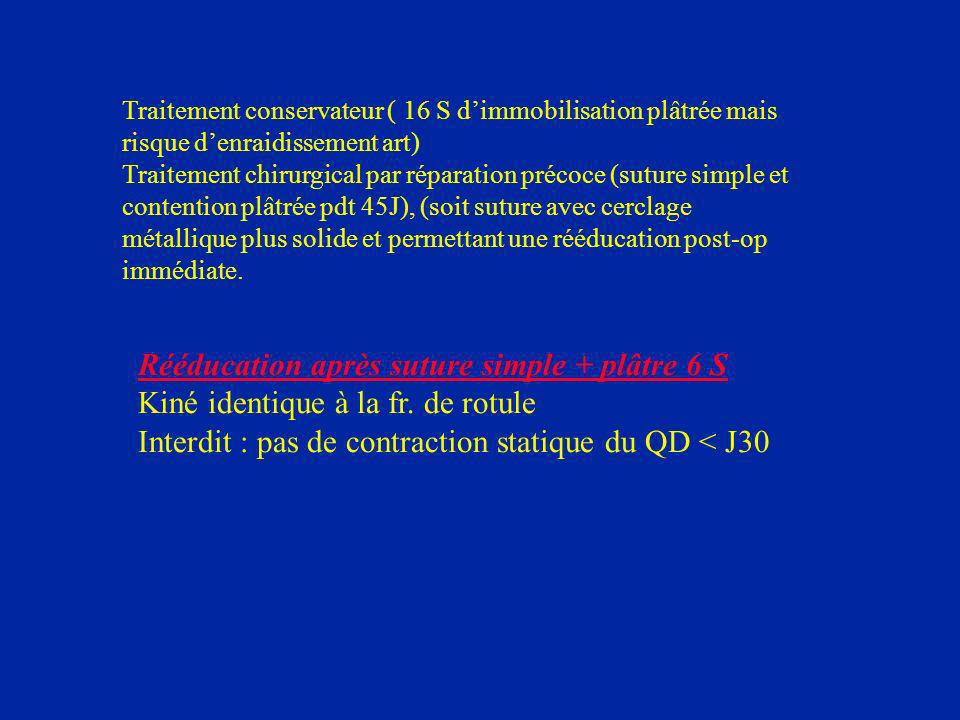 Rééducation après suture simple + plâtre 6 S