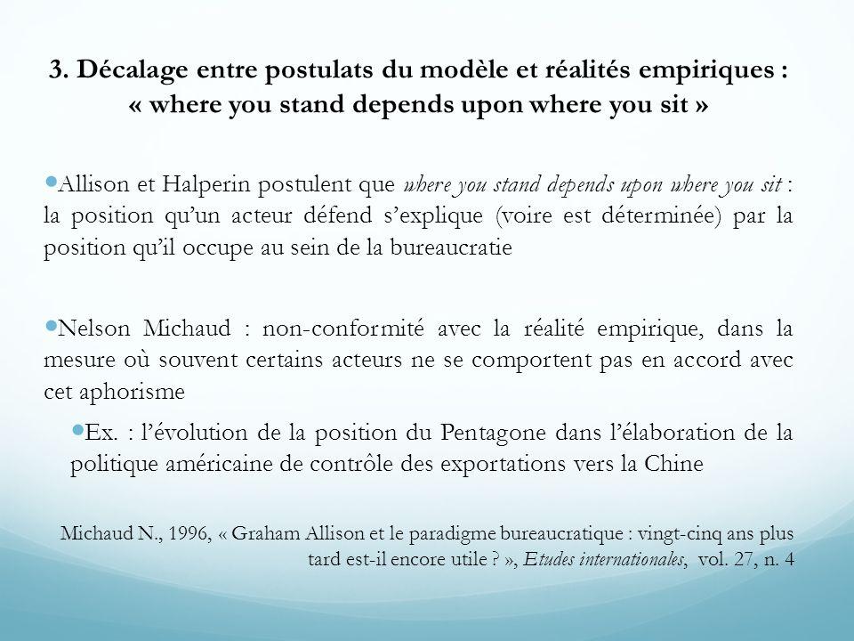 3. Décalage entre postulats du modèle et réalités empiriques : « where you stand depends upon where you sit »