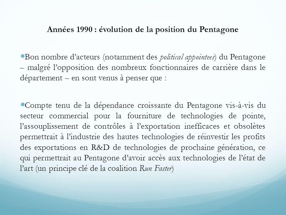 Années 1990 : évolution de la position du Pentagone