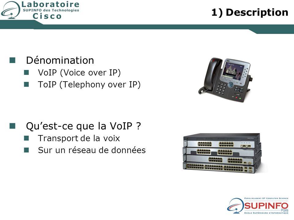 Description Dénomination Qu'est-ce que la VoIP VoIP (Voice over IP)