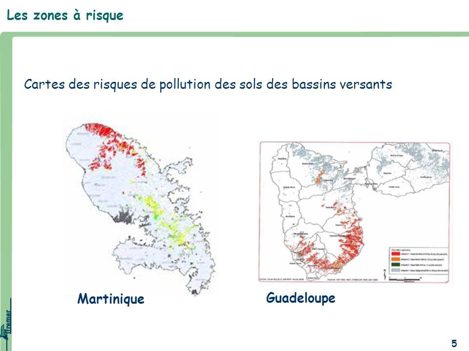 Les zones à risqueCartes des risques de pollution des sols des bassins versants.