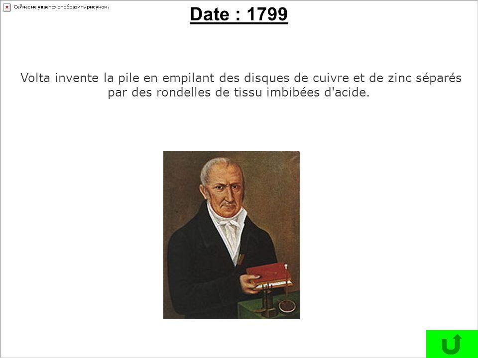 Date : 1799 Volta invente la pile en empilant des disques de cuivre et de zinc séparés par des rondelles de tissu imbibées d acide.