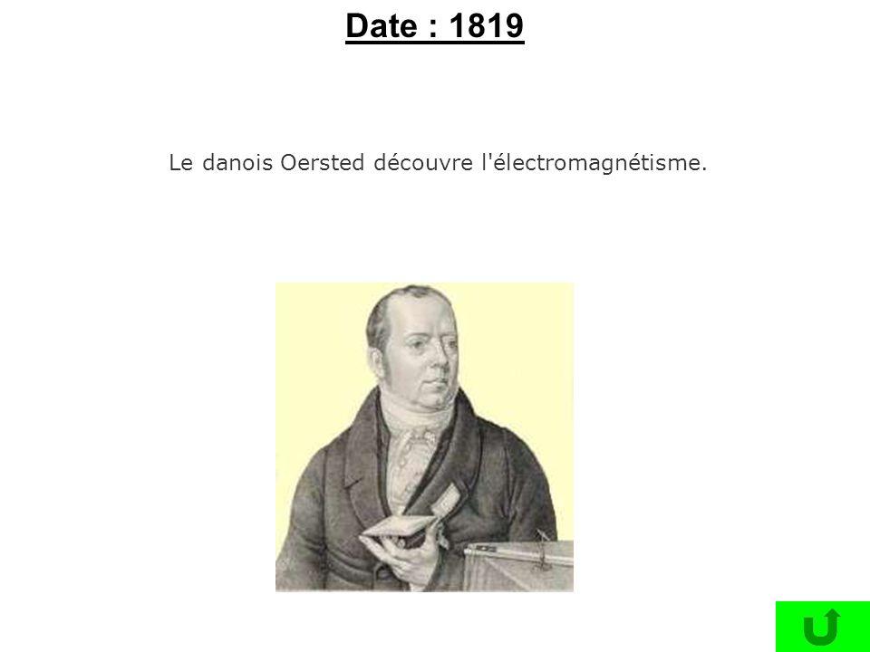 Le danois Oersted découvre l électromagnétisme.