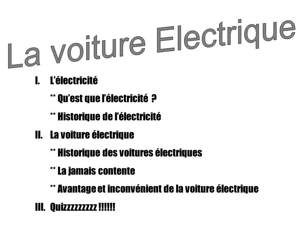 La voiture Electrique L'électricité ** Qu'est que l'électricité