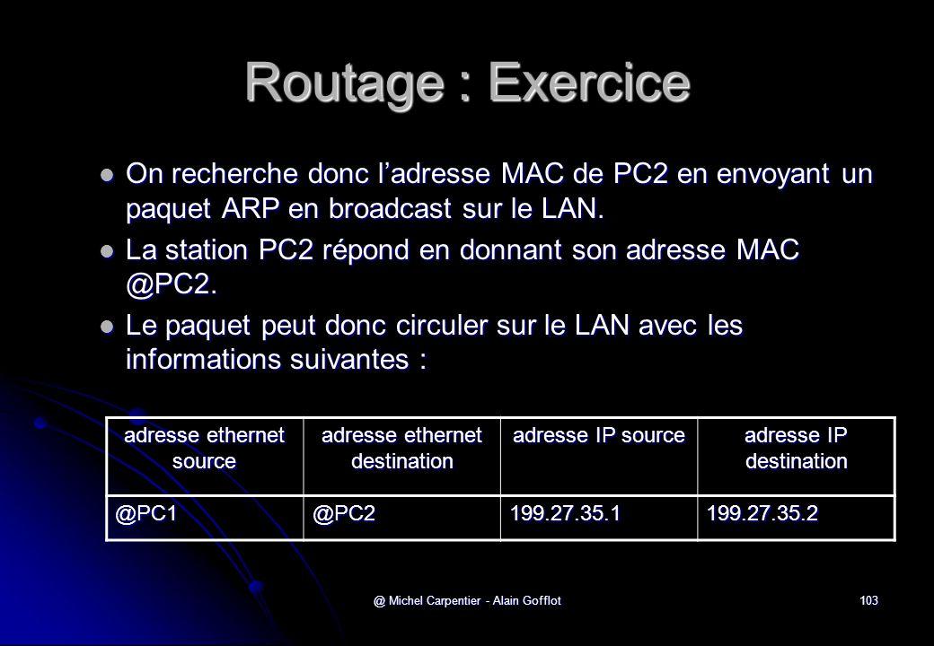 Routage : Exercice On recherche donc l'adresse MAC de PC2 en envoyant un paquet ARP en broadcast sur le LAN.