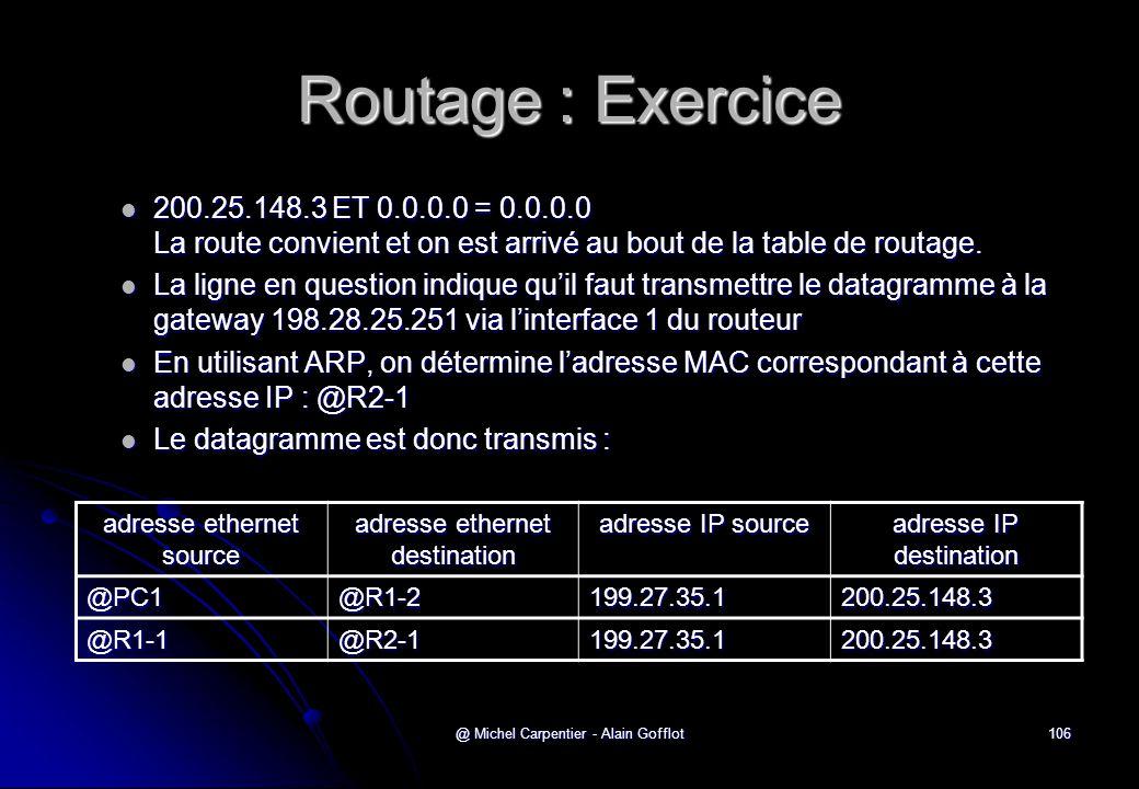 Routage : Exercice 200.25.148.3 ET 0.0.0.0 = 0.0.0.0 La route convient et on est arrivé au bout de la table de routage.