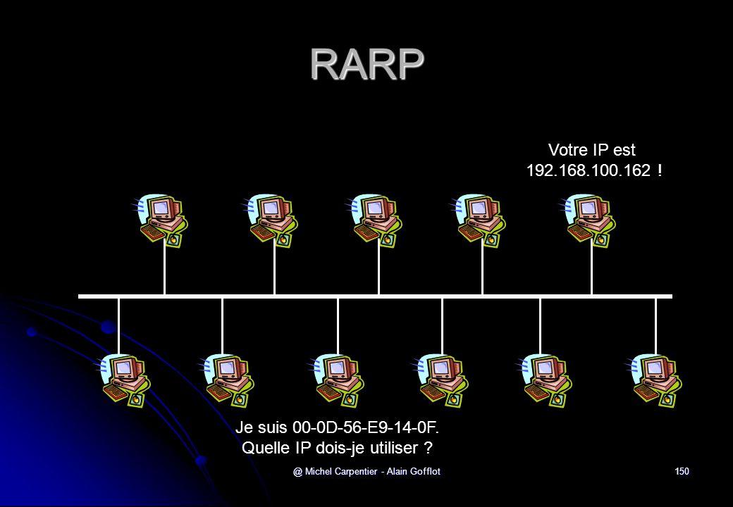 RARP Votre IP est 192.168.100.162 . Je suis 00-0D-56-E9-14-0F.