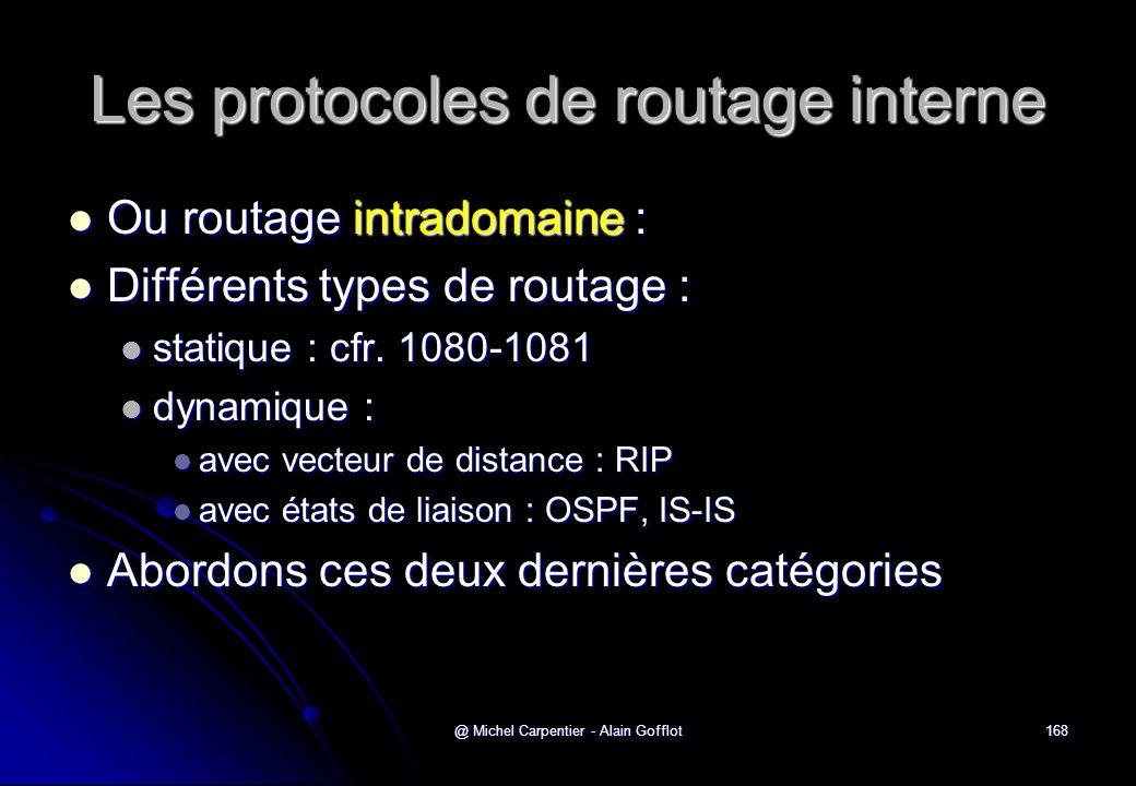 Les protocoles de routage interne