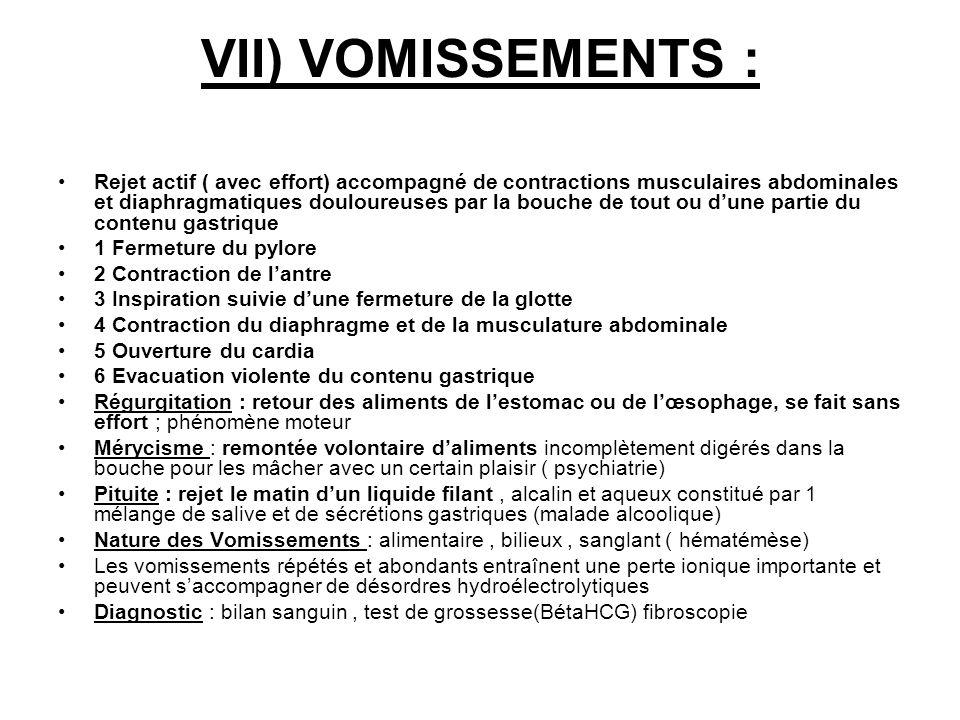 VII) VOMISSEMENTS :