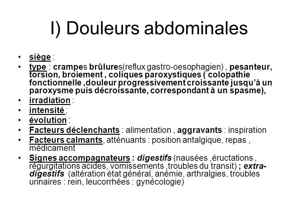 I) Douleurs abdominales