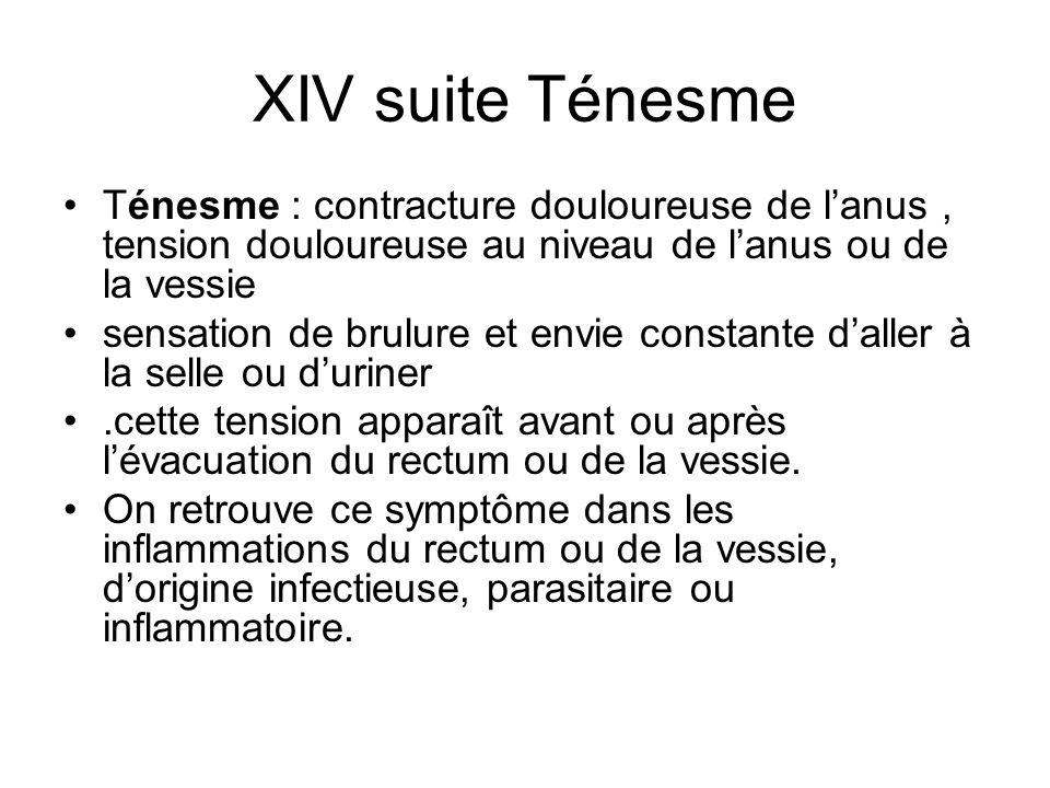 XIV suite Ténesme Ténesme : contracture douloureuse de l'anus , tension douloureuse au niveau de l'anus ou de la vessie.