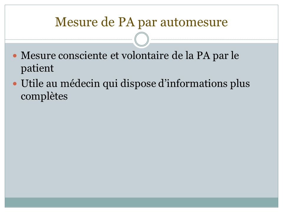 Mesure de PA par automesure