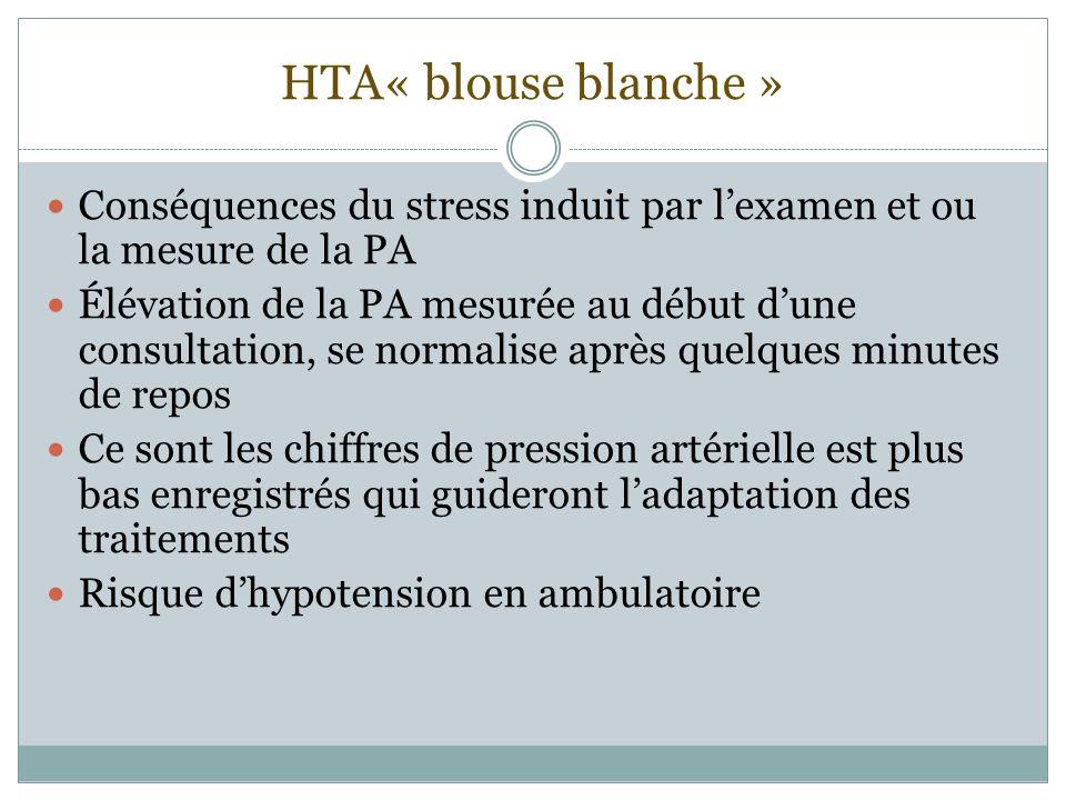 HTA« blouse blanche » Conséquences du stress induit par l'examen et ou la mesure de la PA.