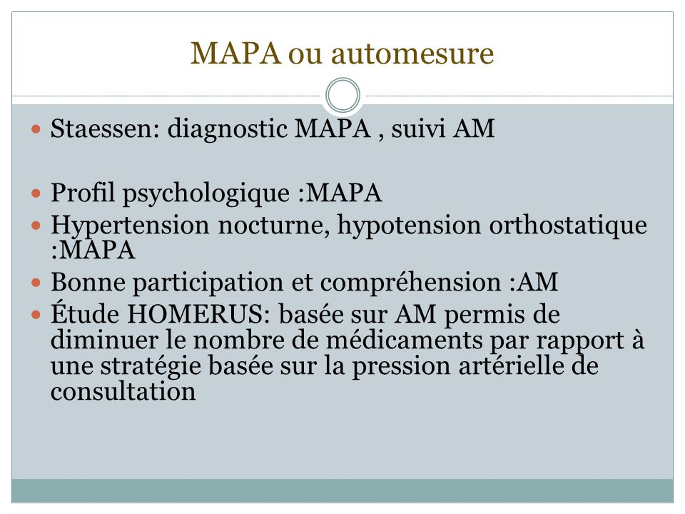 MAPA ou automesure Staessen: diagnostic MAPA , suivi AM