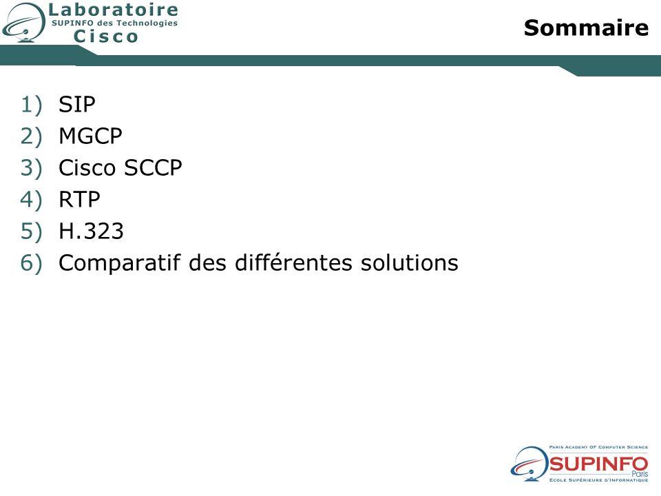 Sommaire SIP MGCP Cisco SCCP RTP H.323 Comparatif des différentes solutions