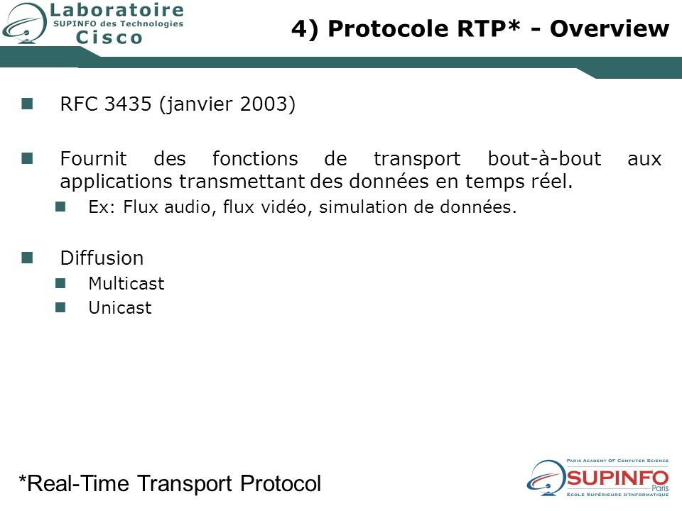4) Protocole RTP* - Overview