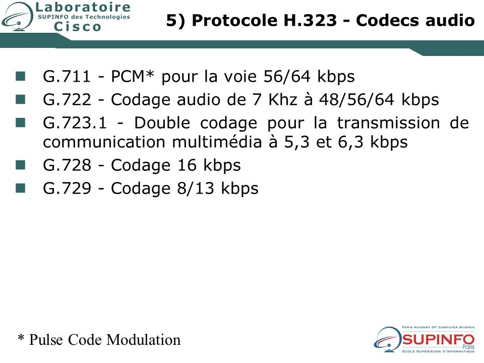 5) Protocole H.323 - Codecs audio