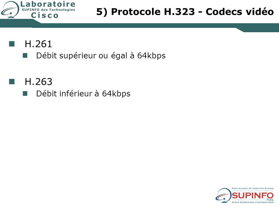 5) Protocole H.323 - Codecs vidéo