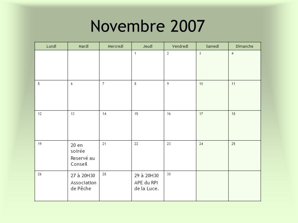 Novembre 2007 20 en soirée Reservé au Conseil 27 à 20H30