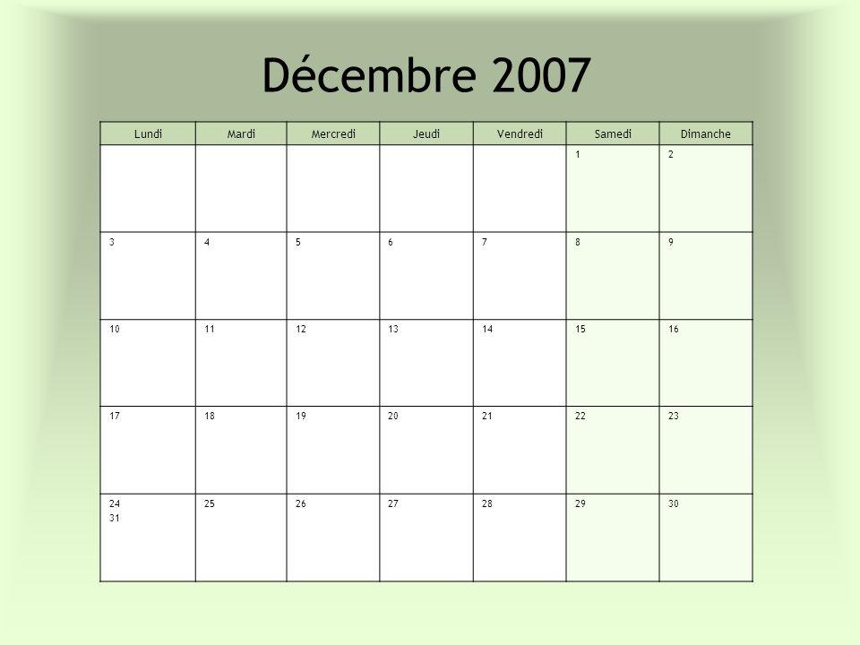 Décembre 2007 Lundi Mardi Mercredi Jeudi Vendredi Samedi Dimanche 1 2
