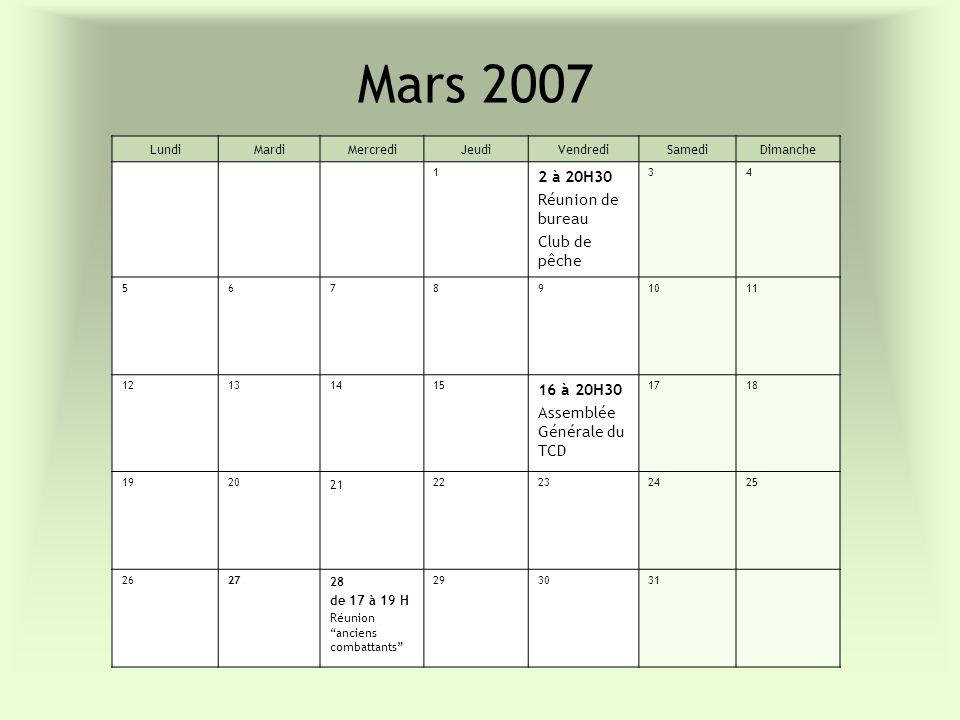 Mars 2007 2 à 20H30 Réunion de bureau Club de pêche 16 à 20H30