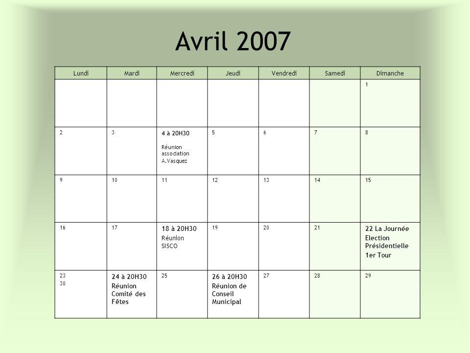 Avril 2007 Lundi Mardi Mercredi Jeudi Vendredi Samedi Dimanche