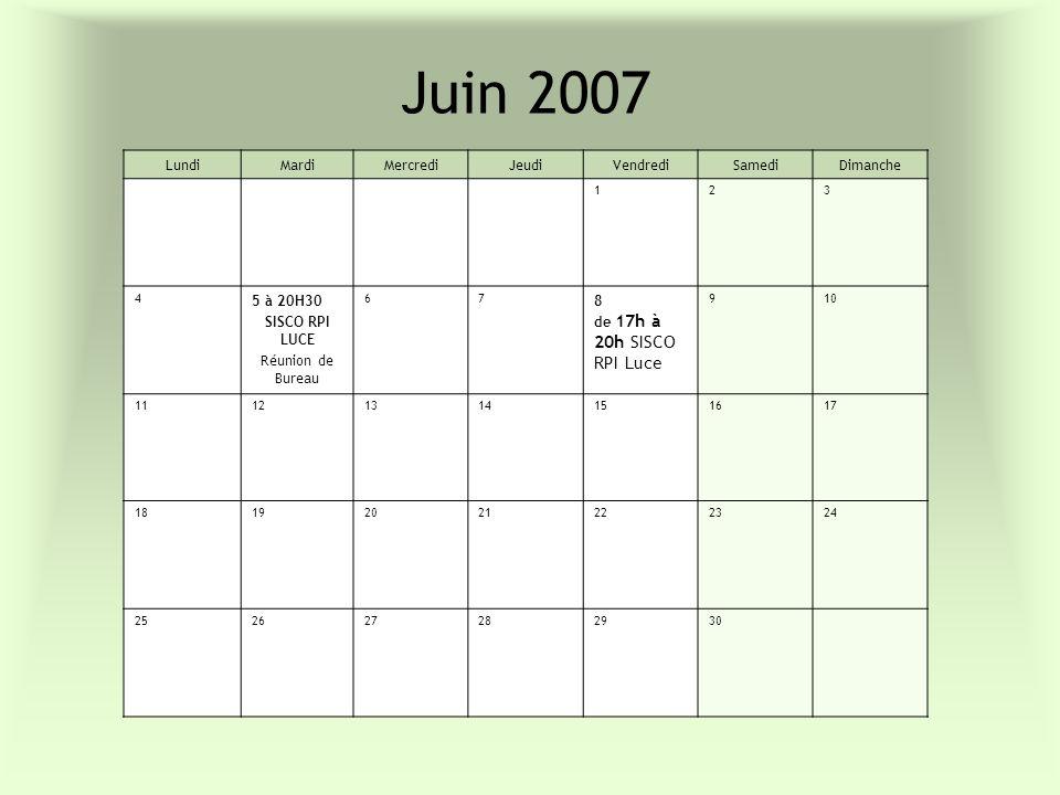 Juin 2007 Lundi Mardi Mercredi Jeudi Vendredi Samedi Dimanche