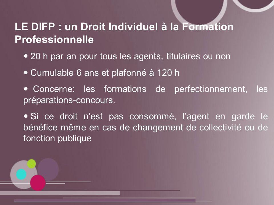 LE DIFP : un Droit Individuel à la Formation Professionnelle