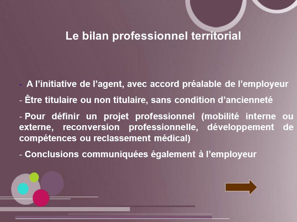 Le bilan professionnel territorial