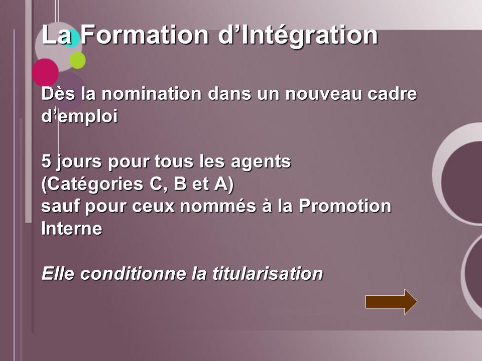 La Formation d'Intégration Dès la nomination dans un nouveau cadre d'emploi 5 jours pour tous les agents (Catégories C, B et A) sauf pour ceux nommés à la Promotion Interne Elle conditionne la titularisation