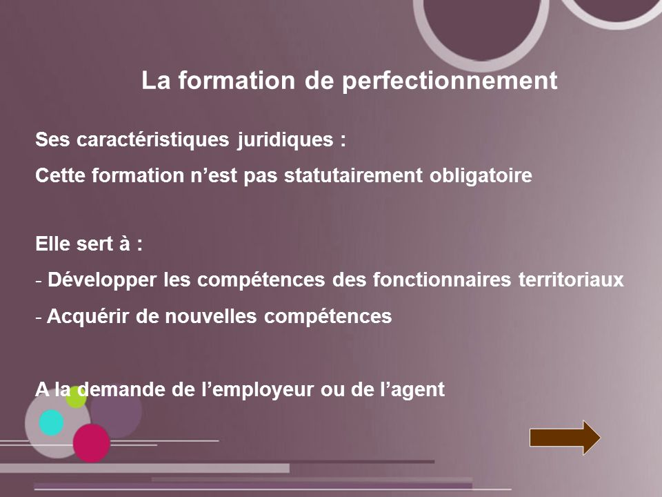 La formation de perfectionnement