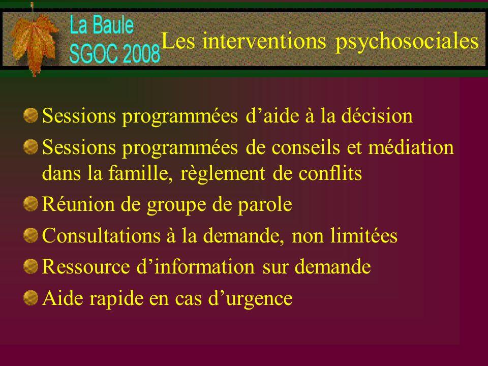 Les interventions psychosociales